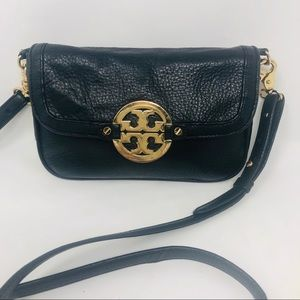 Tory Burch pebbled leather front flap cross body